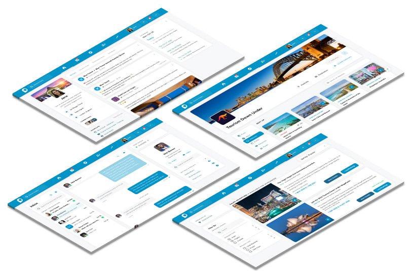 Screenshots of Hablo webinars, Hablo homepage feed, Hablo Inbox chat and Hablo events listings. On myhablo.com